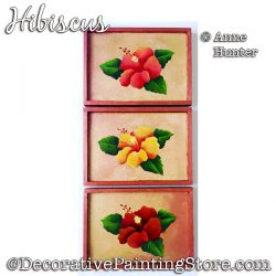 Hibiscus Panel Set Painting Pattern PDF Download - Anne Hunter