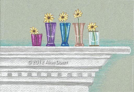 Flowers on Mantle Colored Pencil PDF DOWNLOAD
