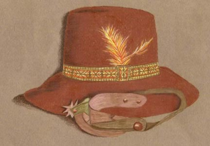 Seminole Indian Hat & Spur Colored Pencil PDF DOWNLOAD