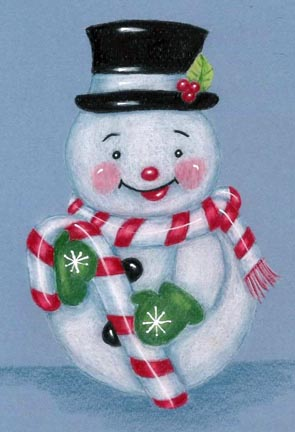 Smiling Snowman Colored Pencil PDF DOWNLOAD