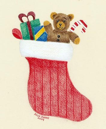 Christmas Stocking Card Colored Pencil PDF DOWNLOAD