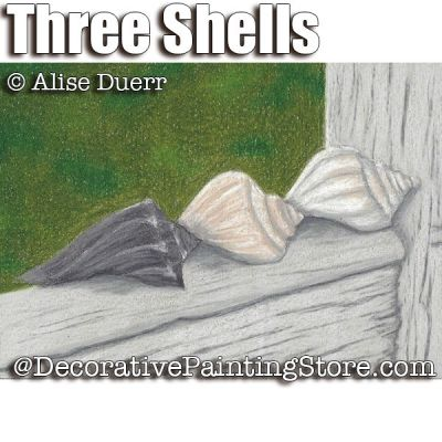 Three Shells Colored Pencil ePattern - Alise Duerr - PDF DOWNLOAD