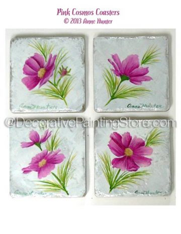 Pink Cosmos Coasters Pattern - Anne Hunter - PDF DOWNLOAD
