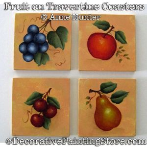 Fruit on Travertine Coasters ePattern Download - Anne Hunter