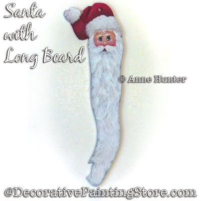 Santa with Long Beard Ornament Painting Pattern PDF Download - Anne Hunter