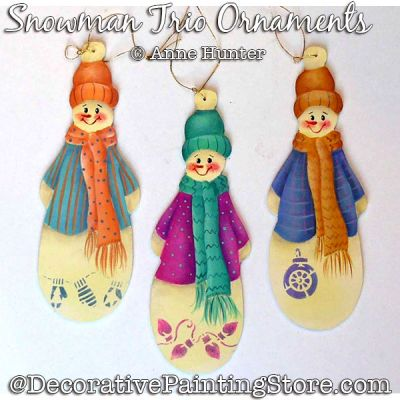 Snowman Trio Ornaments Painting Pattern PDF Download - Anne Hunter
