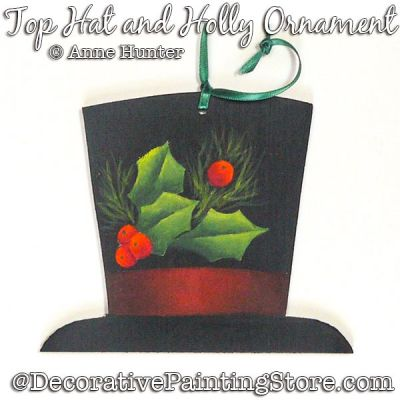 The Hat and Holly Ornaments Painting Pattern PDF Download - Anne Hunter