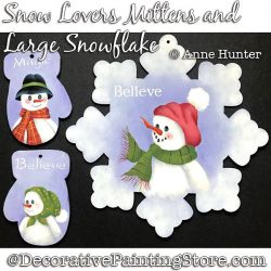 Snow Lover Mittens and Snowflake Painting Pattern PDF Download - Anne Hunter