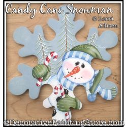 Candy Cane Snowman Painting Pattern PDF DOWNLOAD - Lorri Allisen