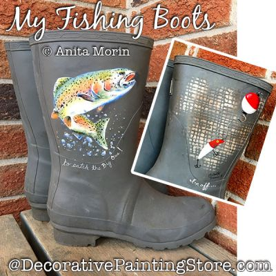 My Fishing Boots Painting Pattern PDF DOWNLOAD - Anita Morin