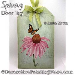 Spring Door Tag (Coneflower-Butterfly) Painting Pattern PDF DOWNLOAD - Anita Morin
