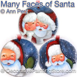 Many Faces of Santa Pattern by Ann Perz - PDF DOWNLOAD
