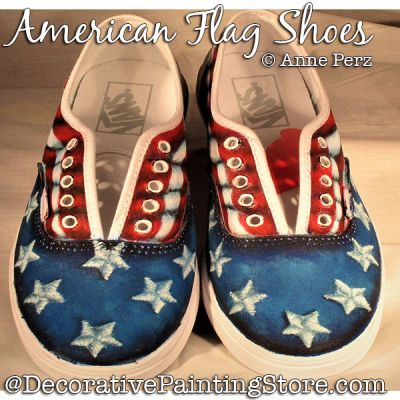 American Flag Shoes Painting Pattern PDF DOWNLOAD - Ann Perz