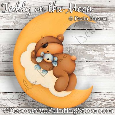 Teddy on the Moon Painting Pattern PDF Download - Paola Bassan