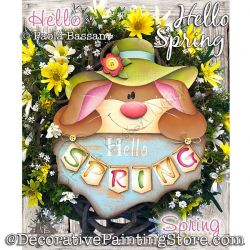 Hello Spring Bunny Wreath Painting Pattern PDF Download - Paola Bassan