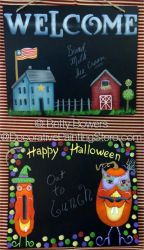 Happy Halloween and Welcome Chalk Boards ePattern - Betty Bowers - PDF DOWNLOAD