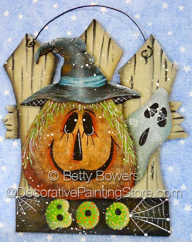 BOO Pumpkin and Fence ePattern - Betty Bowers - PDF DOWNLOAD