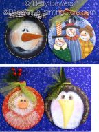 Four Round Wood Ornaments - Betty Bowers - PDF DOWNLOAD