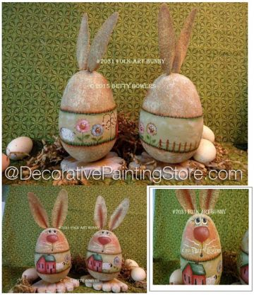Folk Art Bunny Holder - Betty Bowers - PDF DOWNLOAD
