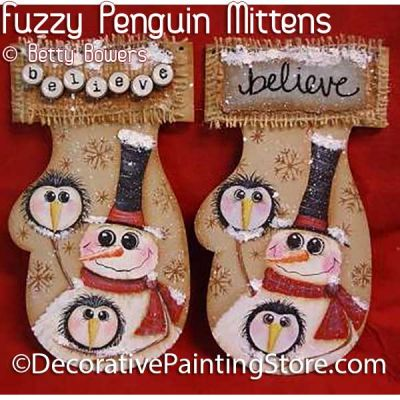 Fuzzy Penguins Mitten - Betty Bowers - PDF DOWNLOAD
