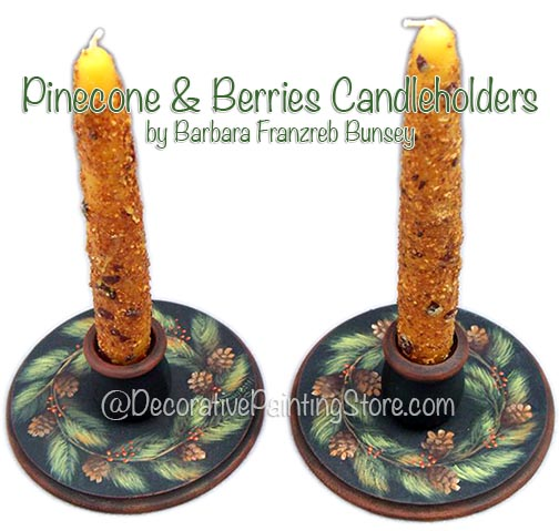 Pinecone & Berries Candleholders ePattern BY DOWNLOAD
