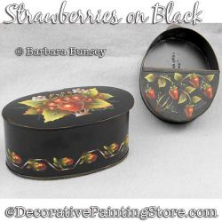 Strawberries on Black DOWNLOAD Painting Pattern - Barbara Bunsey