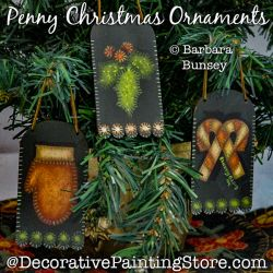 Penny Christmas Ornaments Painting Pattern PDF DOWNLOAD - Barbara Bunsey