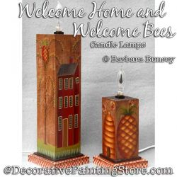 Welcome Home and Welcome Bees Candle Lamps Painting Pattern PDF DOWNLOAD - Barbara Bunsey