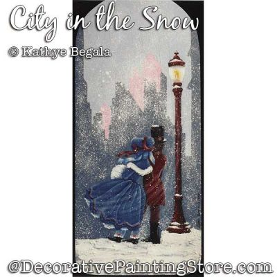 City in the Snow (Acrylic) Painting Pattern - Kathye Begala - PDF DOWNLOAD