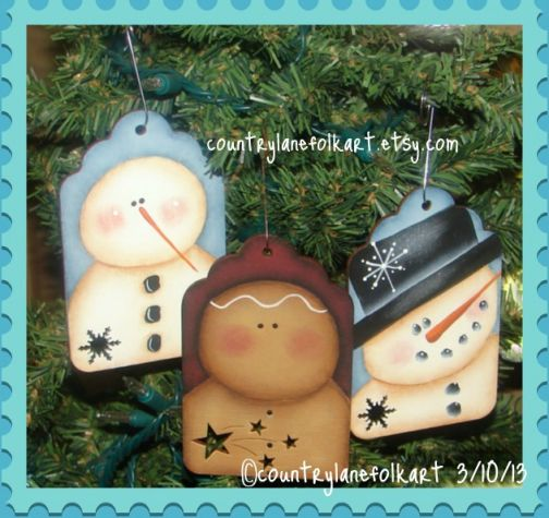 Snowman and Ginger Tag Ornaments Pattern - Becky Levesque - PDF DOWNLOAD