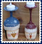 Snowman and Penguin Wine Glass Candle Holders Pattern - Becky Levesque - PDF DOWNLOAD