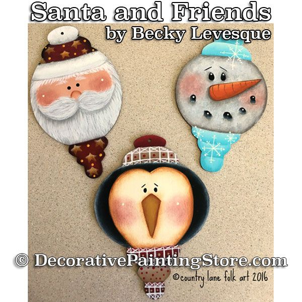 Santa and Friends Ornaments - Becky Levesque - PDF DOWNLOAD