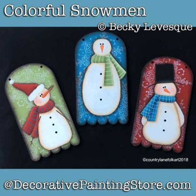 Colorful Snowmen Ornaments DOWNLOAD - Becky Levesque