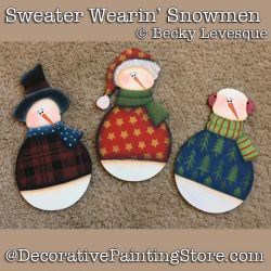 Sweater Wearin Snowmen Ornaments DOWNLOAD - Becky Levesque