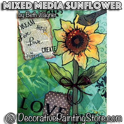 Mixed Media Sunflower ePattern - Beth Wagner - PDF DOWNLOAD
