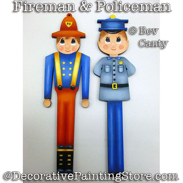 Fireman and Policeman Ornaments PDF DOWNLOAD - Bev Canty