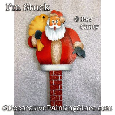 Im Stuck Santa Ornament PDF DOWNLOAD - Bev Canty