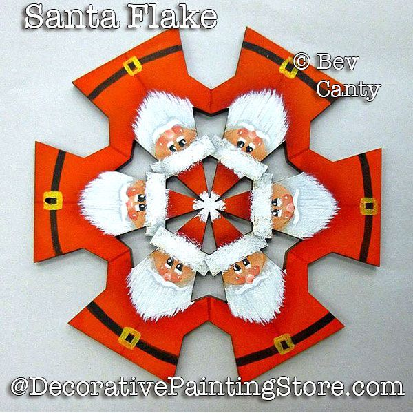 Santa Flake Ornament PDF DOWNLOAD - Bev Canty
