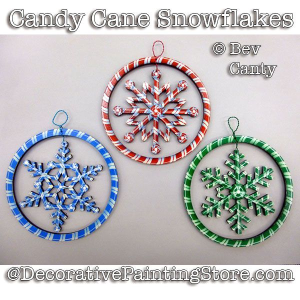 Candy Cane Snowflake Ornament PDF DOWNLOAD - Bev Canty