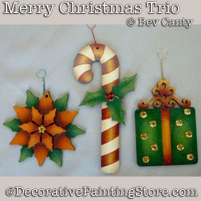Merry Christmas Trio Ornaments PDF DOWNLOAD - Bev Canty