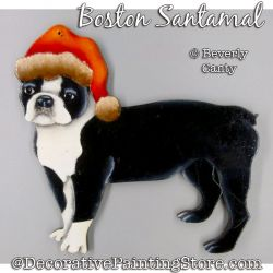 Boston Terrier Santamal Ornament PDF DOWNLOAD - Bev Canty