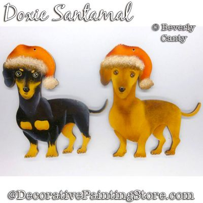 Doxie Santamal (Dachshund) Ornament PDF DOWNLOAD - Bev Canty