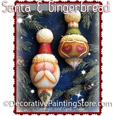 Santa and Gingerbread Turned Ornaments ePattern - Cyndi Combs - PDF DOWNLOAD