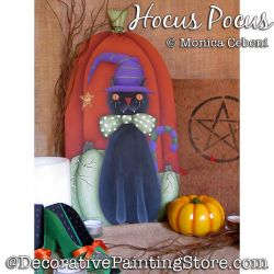Hocus Pocus (Black Cat / Pumpkins) Painting Pattern PDF Download - Monica Cebeni