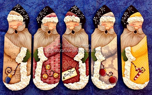 Santa Picket Ornaments ePattern - Christy Hartman - DOWNLOAD