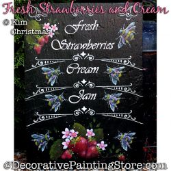 Strawberries and Cream Painting Pattern PDF Download - Kim Christmas