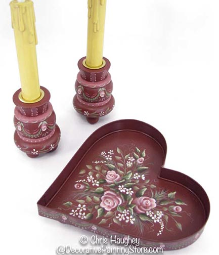 Sweetheart Tray and Candleholders Set e-Pattern DOWNLOAD