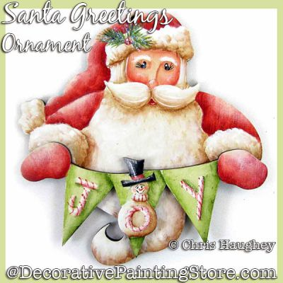 Santa Greeting Ornament Painting Pattern DOWNLOAD - Chris Haughey