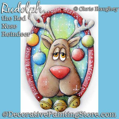 Rudolph the Red Nose Reindeer Ornament Painting Pattern DOWNLOAD - Chris Haughey