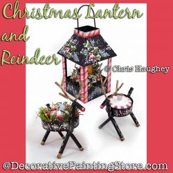 Christmas Lantern and Reindeer Painting Pattern DOWNLOAD - Chris Haughey